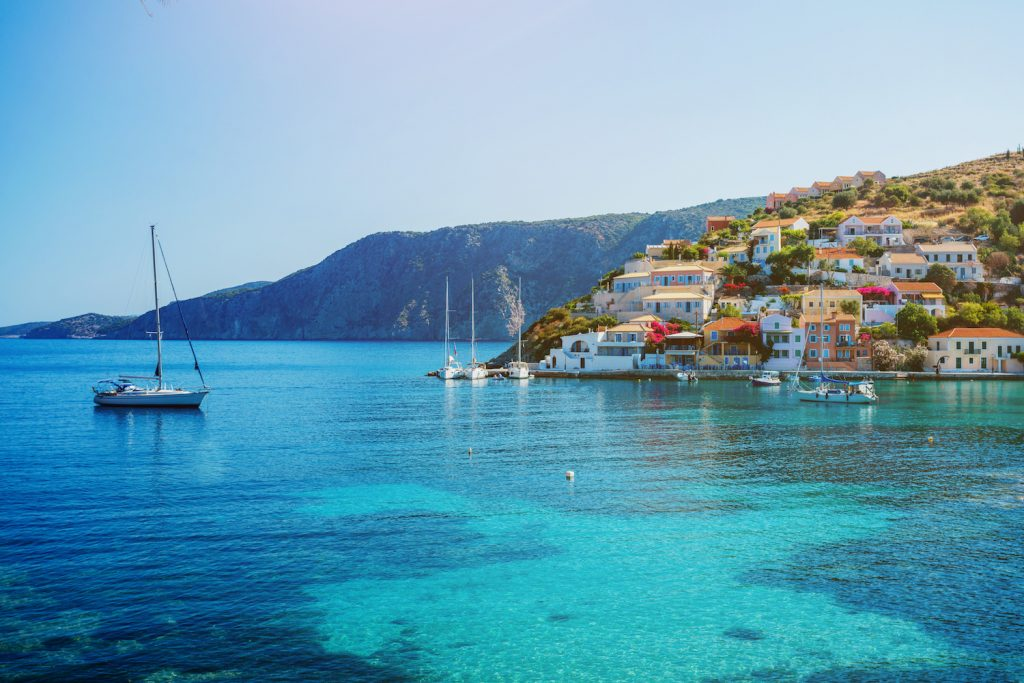 Panoramic view of beautiful Lefkada island. Greece